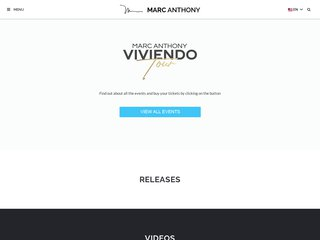Screenshot of Marc Anthony official website