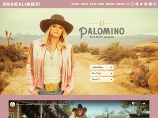 Screenshot of Miranda Lambert official website