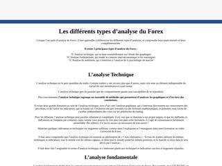 Les différents types d'analyse du Forex