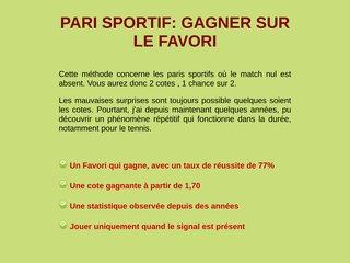PARI SPORTIF: GAGNER SUR LE FAVORI