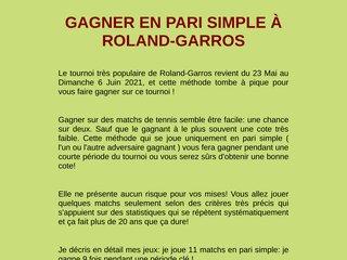 GAGNER EN PARI SIMPLE À ROLAND-GARROS