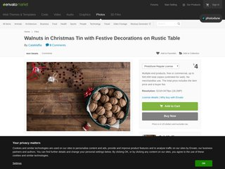 Walnuts in Christmas Tin with Festive Decorations on Rustic Table Misc