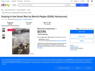 Sniping in the Great War by Pegler, Martin Hardback Book The Fast Free Shipping