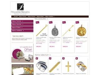 screenshot http://princessediamants.com Bijouterie princesse diamants