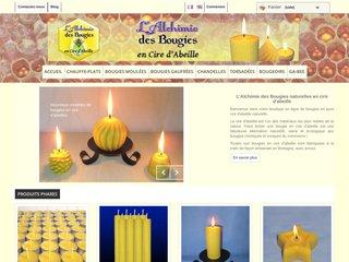 screenshot http://www.alchimiedesbougies.fr/ L'alchimie des bougies en cire d'abeille