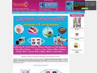 screenshot http://www.cadodes.com/ Cadodes boutique cadeaux humour licence