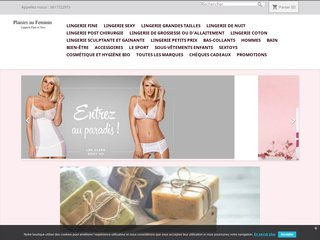 screenshot http://www.plaisirsaufeminin.fr Plaisirs au feminin - lingerie sexy à petits prix