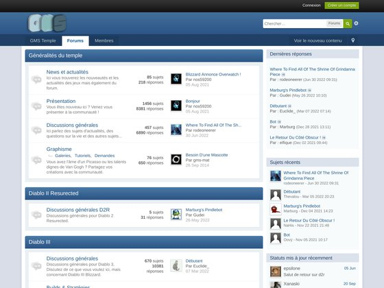 Forums francophones mmo et rpg - Gms Temple