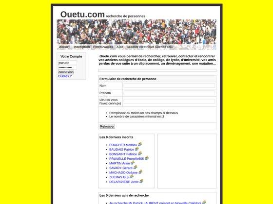 Ouetu.com, recherche de personne