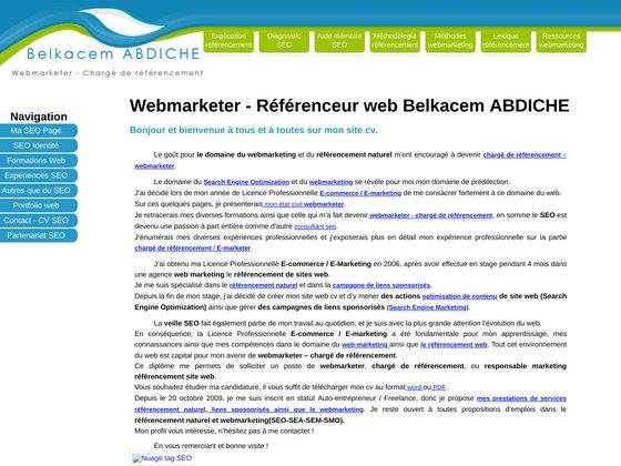 Site web CV d'un référenceur - webmarketer