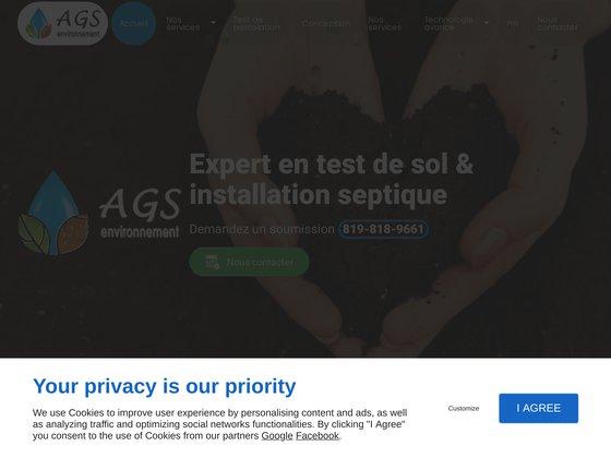 Test de sol AGS d'épuration environnementale des eaux usées