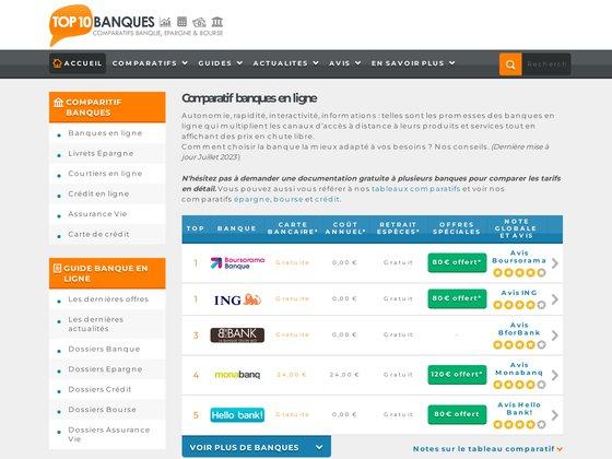Comparatif banques en ligne
