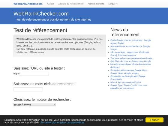 Web Rank Checker: test de referencement et positionnement de