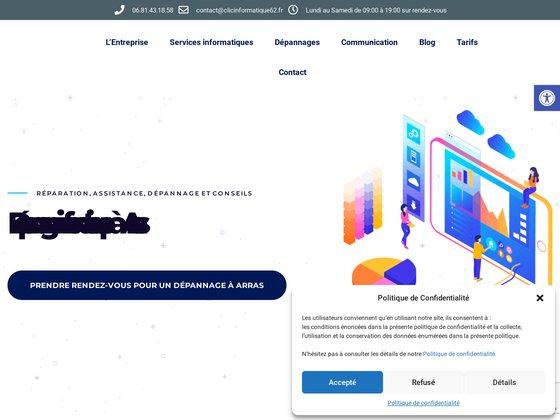 Clic informatique 62 Dépannage d'ordinateur Arras et Conception de sites web