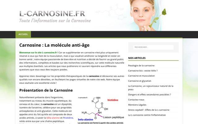 l-carnosine.fr : site de présentation des propriétés de la carnosine