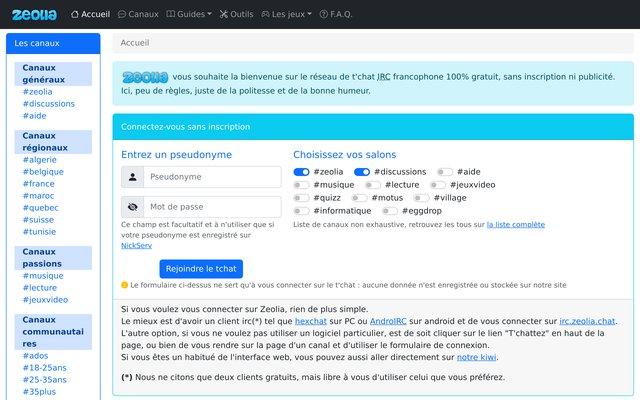 Réseau IRC Francophone - Zeolia