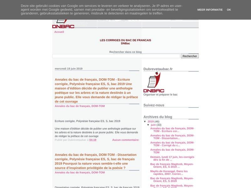 les corrigés du bac français
