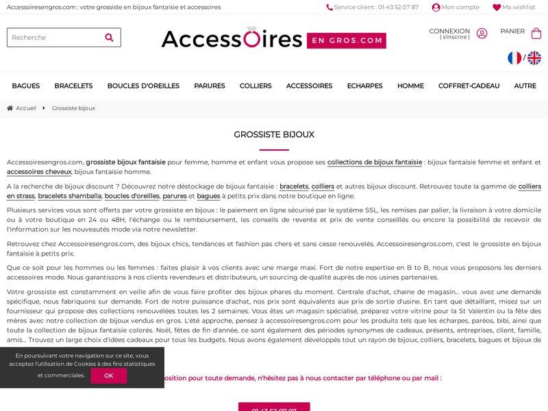 Accessoires en gros.com: Grossiste bijoux fantaisie