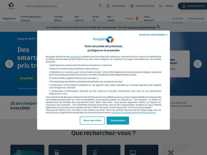 screenshot http://www.BOUYGUESTELECOM.FR/ Bouygues Telecom
