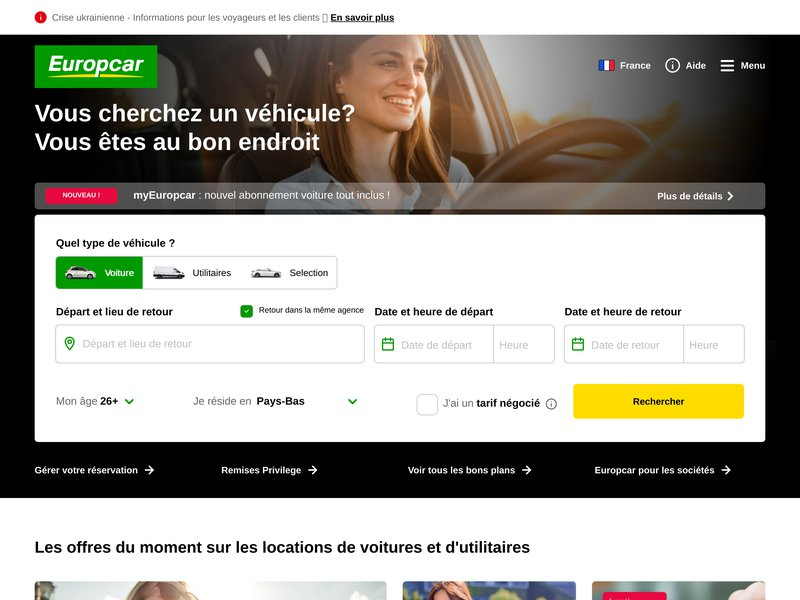 Locations de voitures avec Europcar
