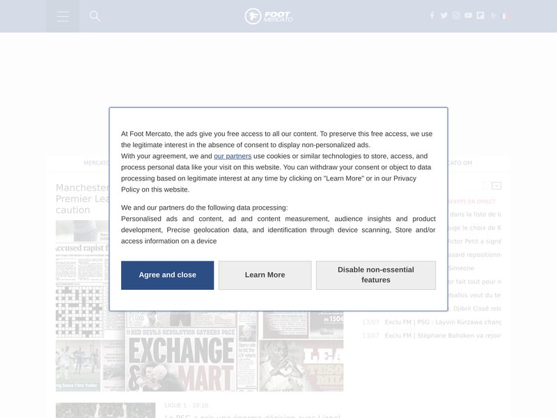 screenshot http://www.FOOTMERCATO.net/ FOOTMERCATO
