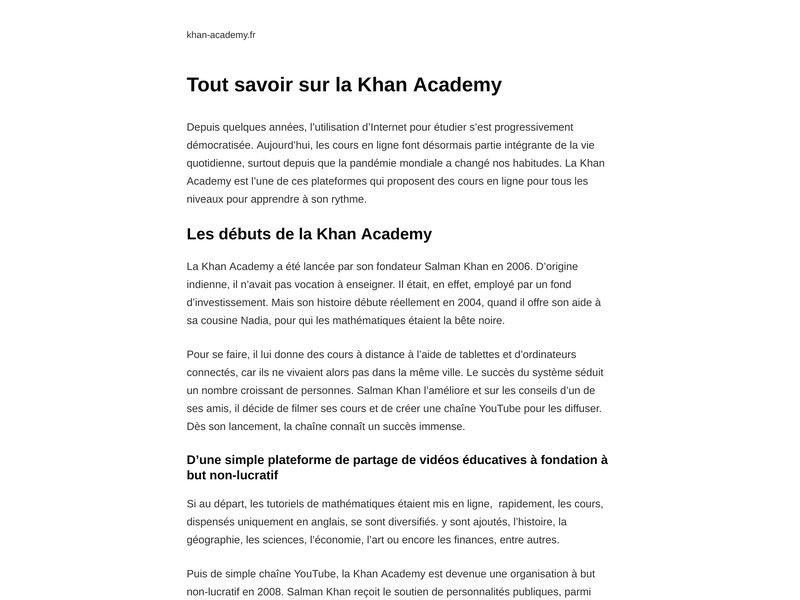 Khan Academy en Français | Cours de Maths Gratuits !
